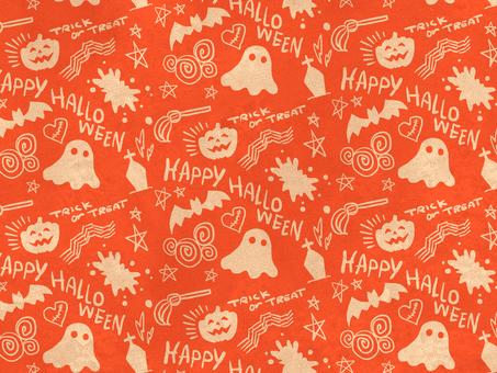 萬聖節總圖案橙色壁紙