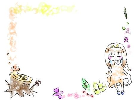 Forest girl frame, color
