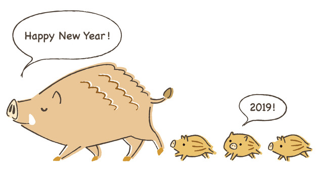 Parent-child greeting cards of wild boar