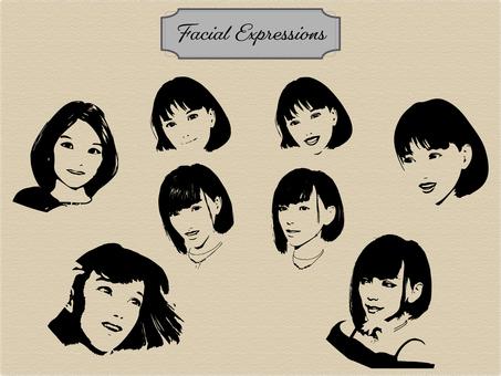 표정 다양한 여성