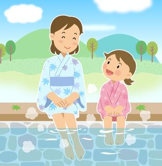 Parent and child footbath summer illustration