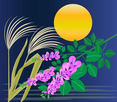 萩とススキと月