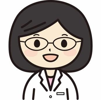 Female pharmacist wearing glasses