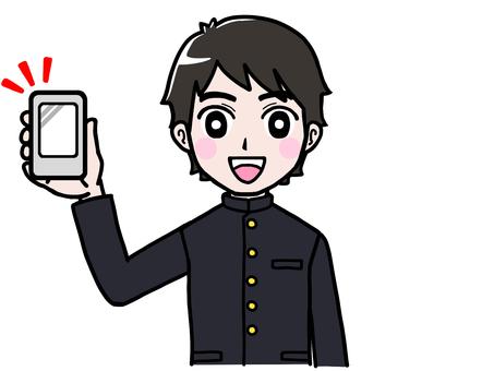 School run boy student show smartphone