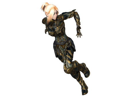 鎧に身を固めて走るブロンド少女