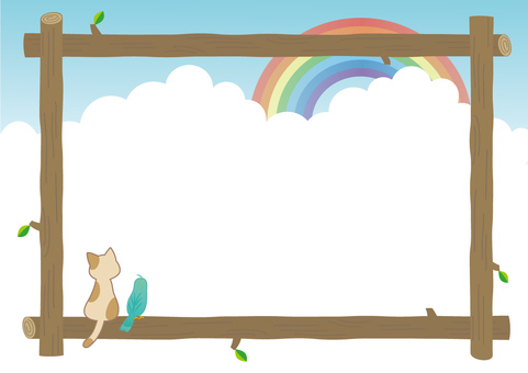 Nyanto and a frame of a rainbow with a bird