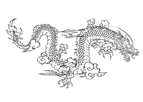 Dragon line drawing 04