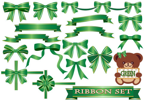 Set of ribbon (green)