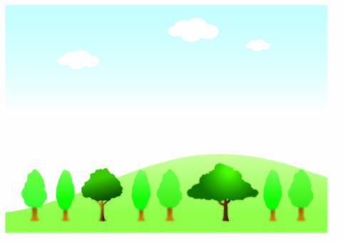 언덕과 나무와 푸른 하늘 1
