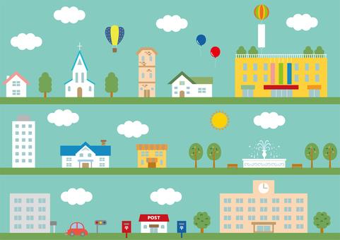 Cityscape illustration set