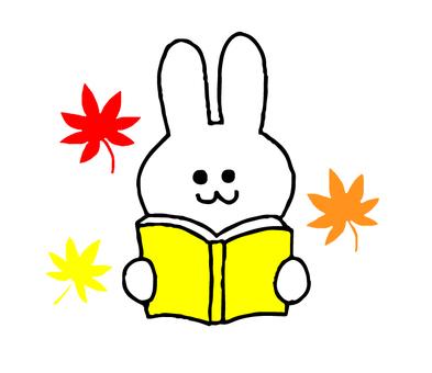 ウサギの読書の秋(シンプル)
