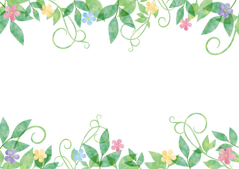 Fresh green and flower _ pastel frame