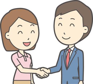青年スーツ青と握手-009-バスト
