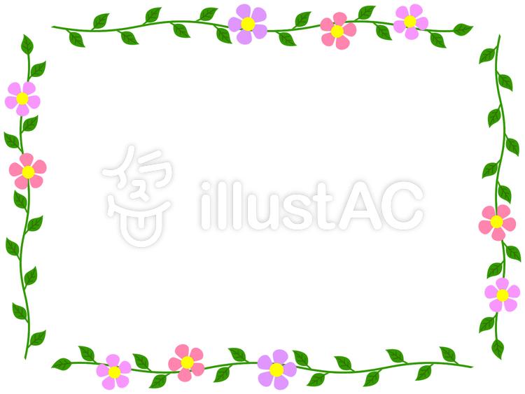 花と葉のフレームかわいいシンプルな飾り枠イラスト No 1082055無料