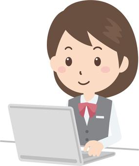 Female | OL | Bank uniform | Personal computer
