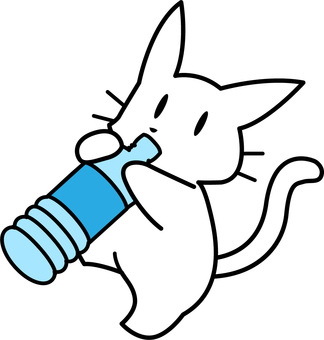 White cat drinking a drink in a plastic bottle