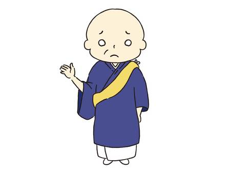 Monk raising one hand at ease
