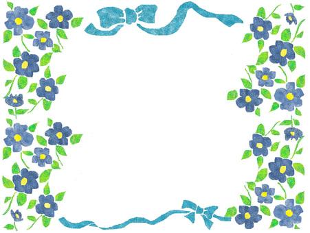 Frame blue flower and ribbon