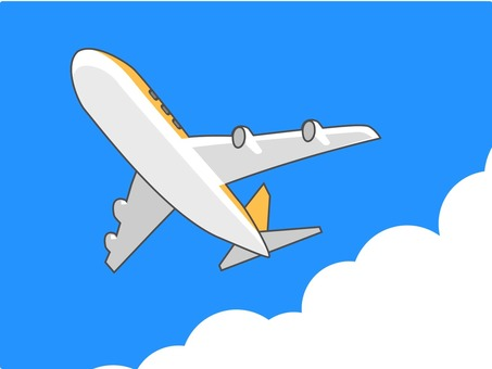 Yellow and white airplane flying in the blue sky