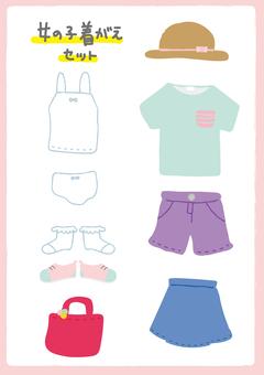 Girls clothes illustration set spring summer version