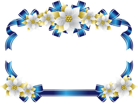 Poinsettia and ribbon frame