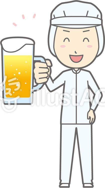 衛生服男-ビール笑顔-全身のイラスト
