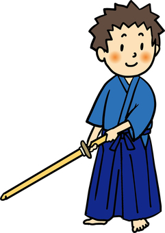 Kimono side stance 4c_ Kendo style, Iaido way