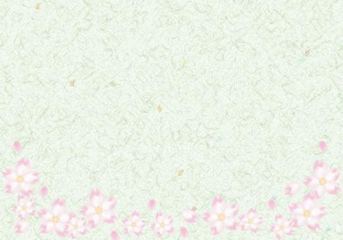 Cherry-blossom frame Japanese paper · green