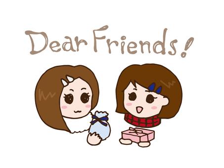 Girls exchanging friend chocolate