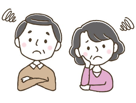 Annoyed middle age / elderly couple / cute / hand drawn