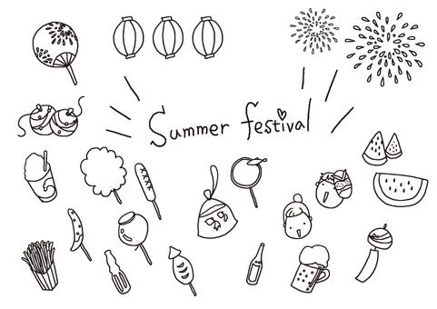 手描きイラスト素材(夏祭り)