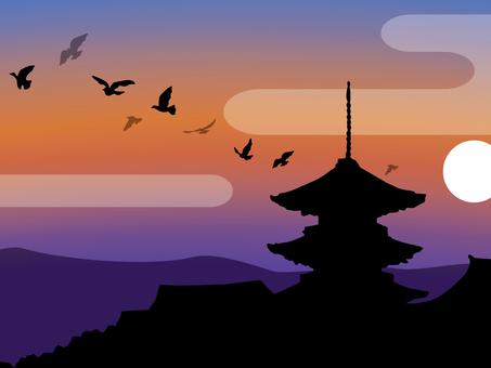 Kiyomizudera silhouette 02