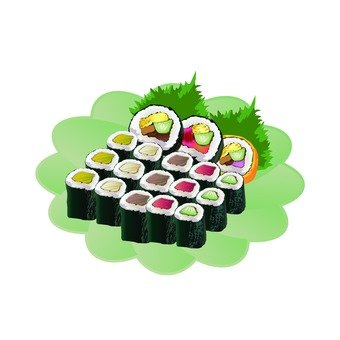 Rolled sushi (green flower-shaped dish)