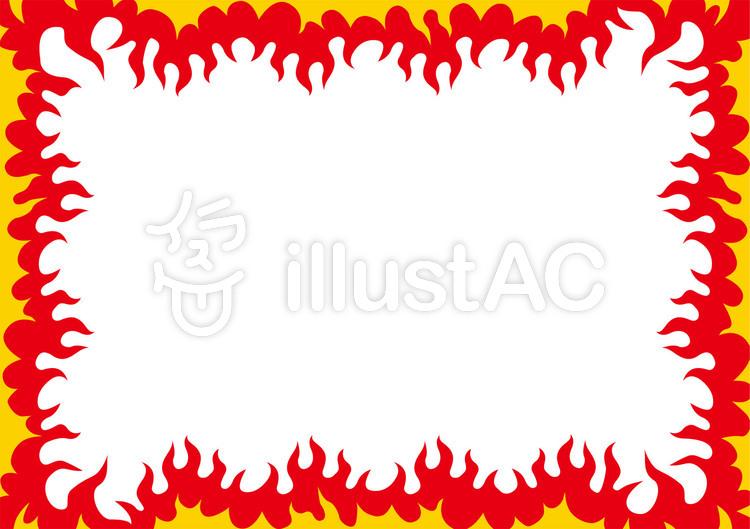 炎ファイヤーパターン横長フレーム壁紙イラスト No 1095951無料
