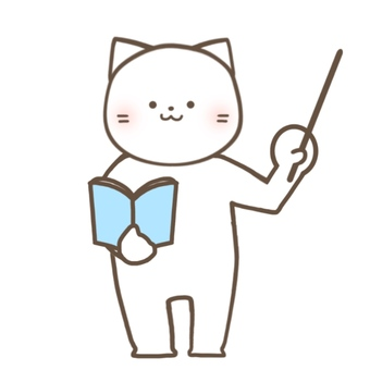 Cat holding a book and teaching