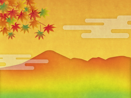 Autumn leaves and mountains