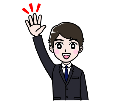 Male office worker in suit raise hand