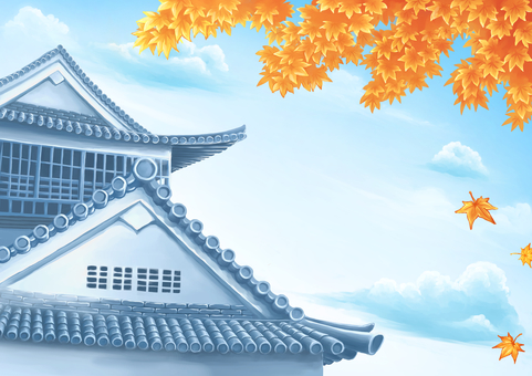 Japanese castle and autumn leaves