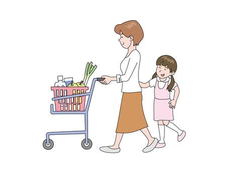 媽媽和女兒在超市購物