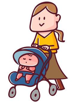 Mom pushing a stroller