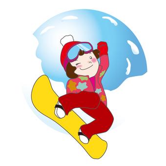 一個女孩玩滑雪板
