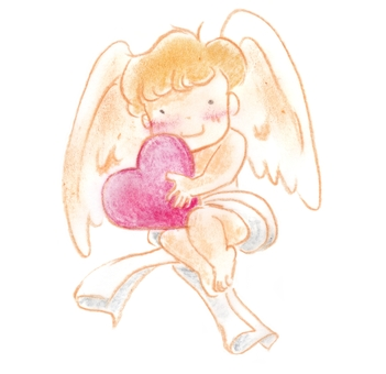 Angel holding a heart