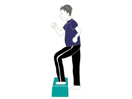 Middle-aged man doing a step up and down exercise