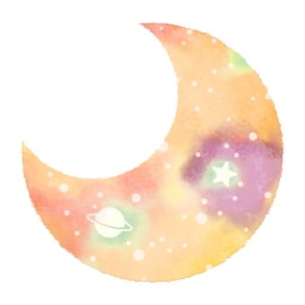 Moon icon space pattern watercolor 001