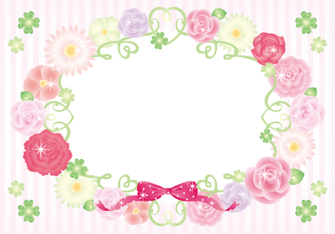Flower frame (striped pink)