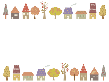 House and wood frame background autumn