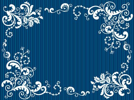 Botanical style border navy blue