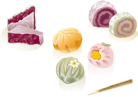 Japanese sweets illustration