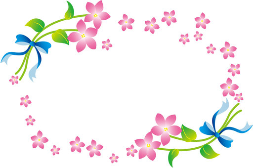 Flower and ribbon frame (pink)