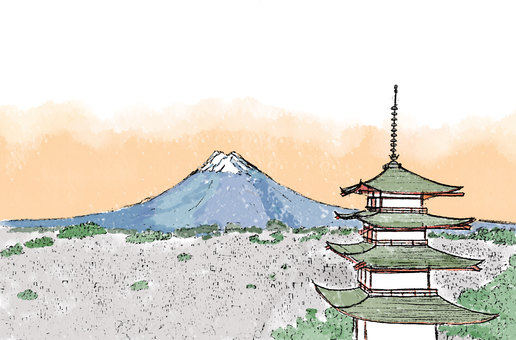 富士山と忠霊塔朝焼け(透過)